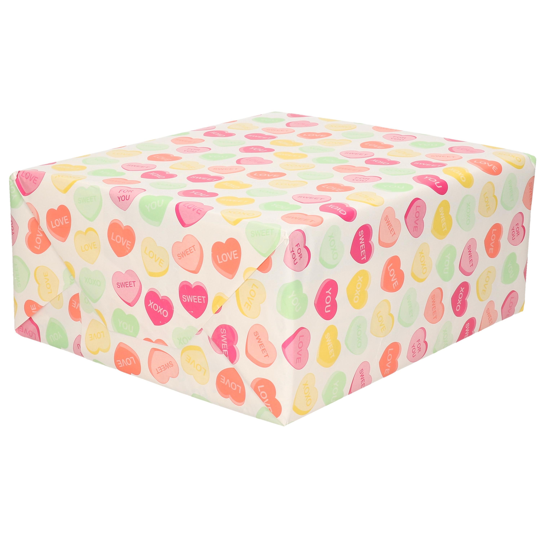1x Rol Inpakpapier/cadeaupapier wit met gekleurde hartjes/snoepjes design 200 x 70 cm