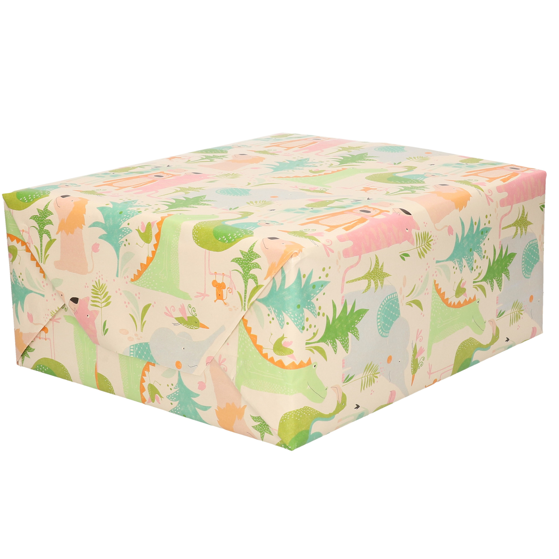 1x Rol inpakpapier pastel tinten jungle dieren thema 200 x 70 cm