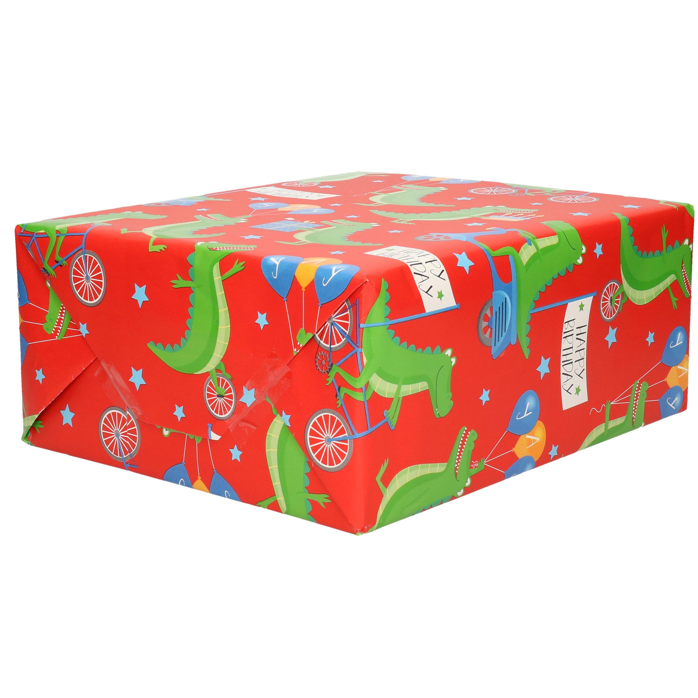 1x Rol kinderverjaardag inpakpapier rood met krokodillen thema 200 x 70 cm