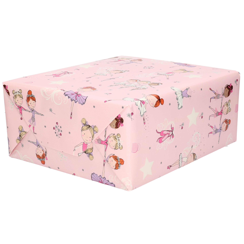 1x Rol kinderverjaardag inpakpapier roze met ballet danseresjes 200 x 70 cm
