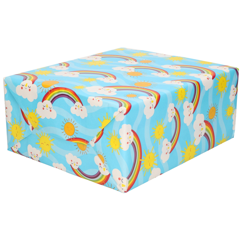 1x Rollen Cadeaupapier blauw met wolken / regenbogen 200 x 70 cm