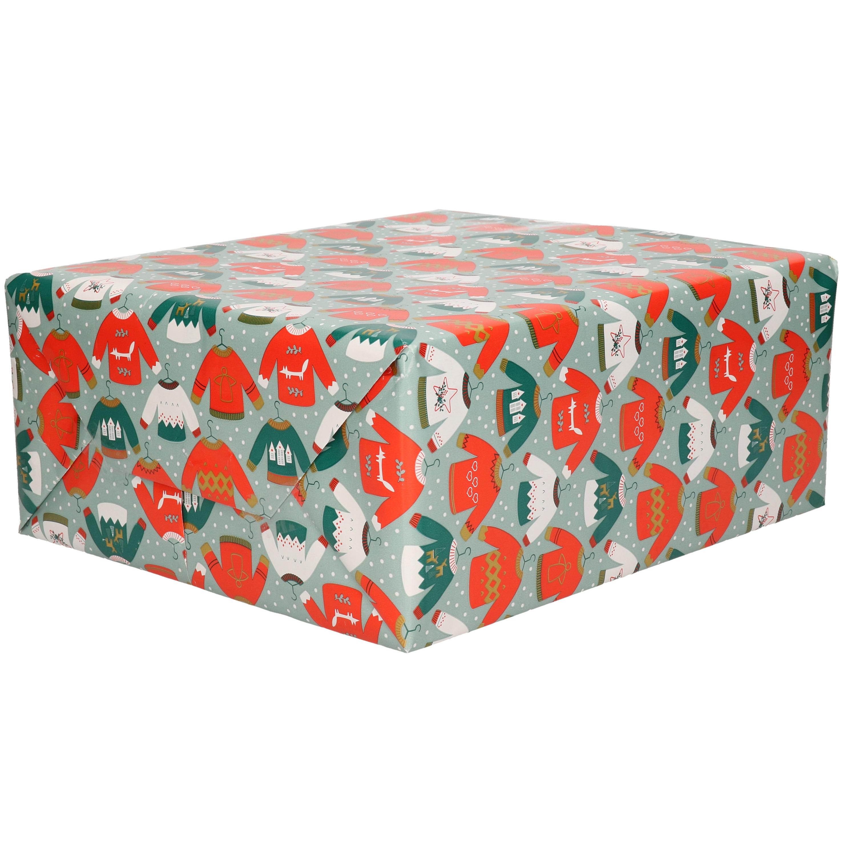 1x Rollen inpakpapier/cadeaupapier Kerst print blauw 2,5 x 0,7 meter 70 grams luxe kwaliteit