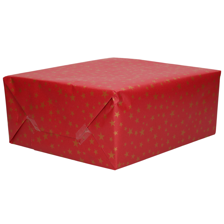 1x Rollen inpakpapier/cadeaupapier Kerst print bordeaux rood 2,5 x 0,7 meter 70 grams luxe kwaliteit