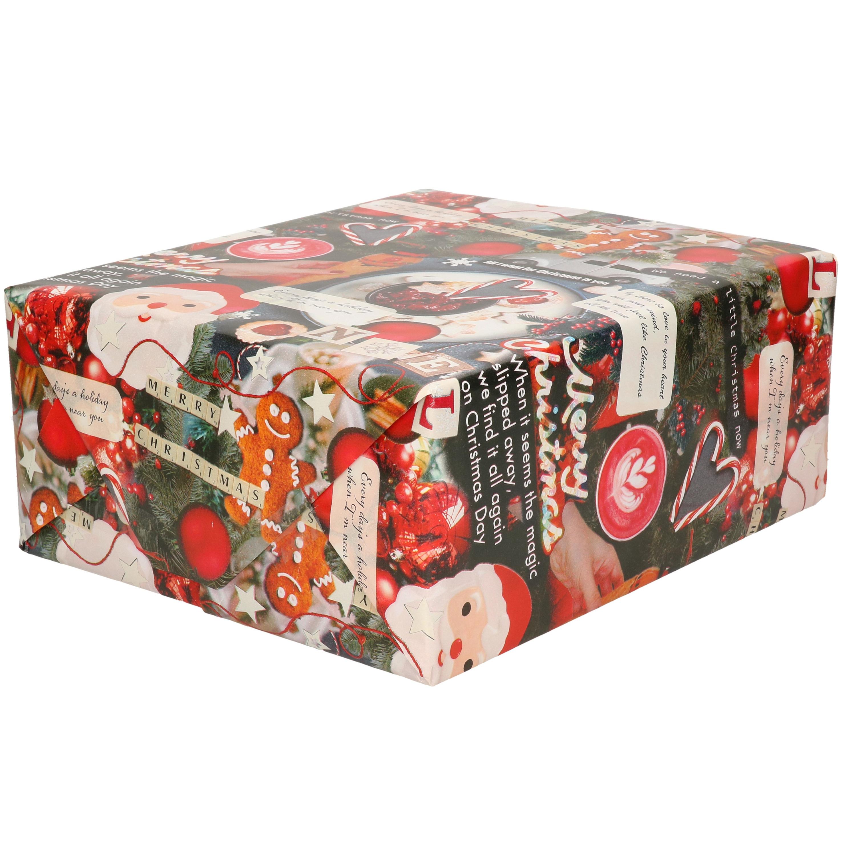 1x Rollen inpakpapier/cadeaupapier Kerst print gekleurd met songteksten 250 x 70 cm luxe kwaliteit