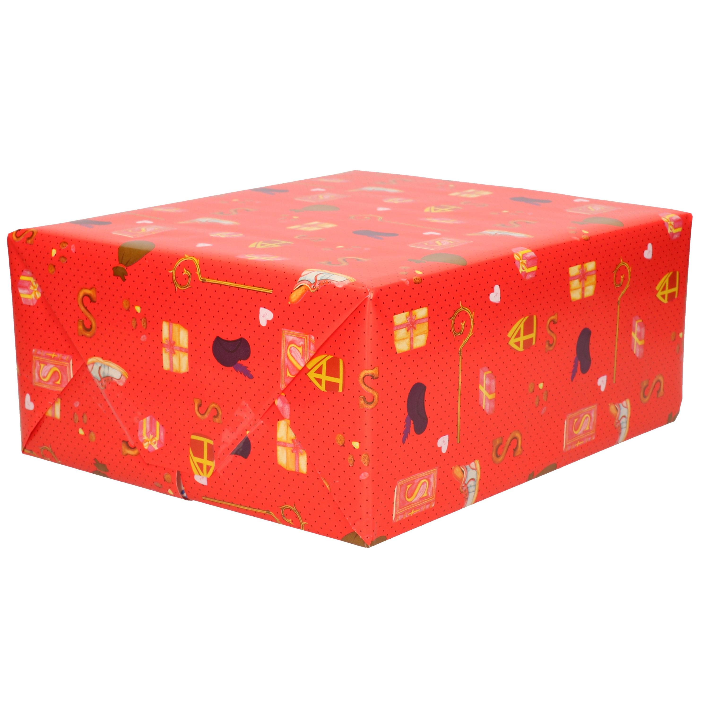 1x Rollen inpakpapier/cadeaupapier Kerst print rood 2,5 x 0,7 meter 70 grams luxe kwaliteit