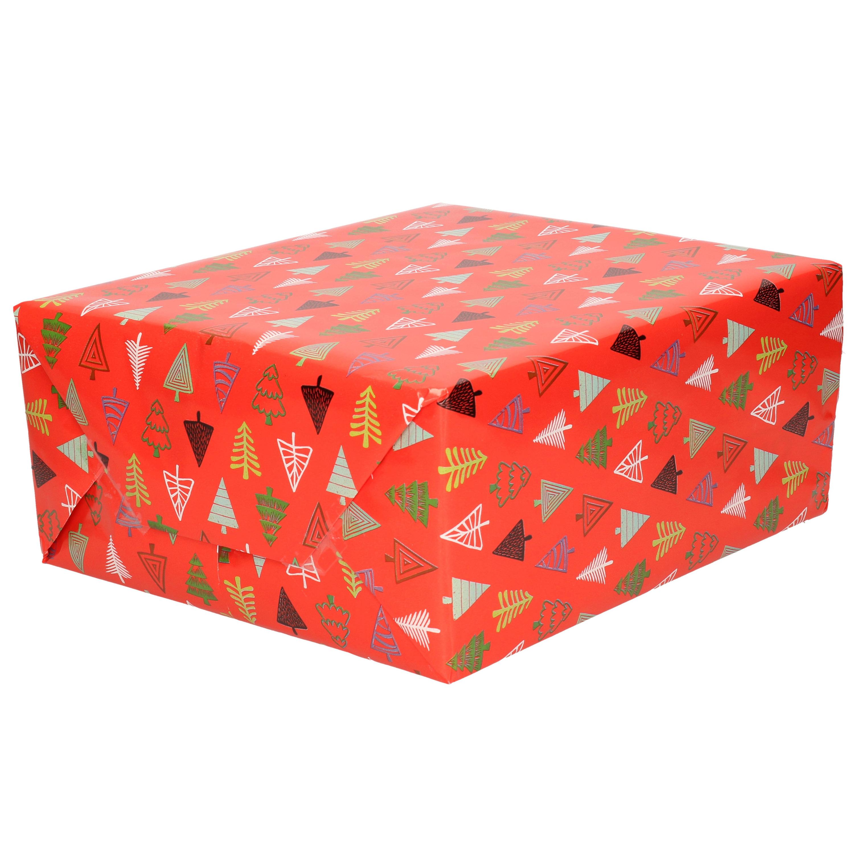 1x Rollen inpakpapier/cadeaupapier Kerst print rood/gekleurde kerstbomen 250 x 70 cm luxe kwaliteit