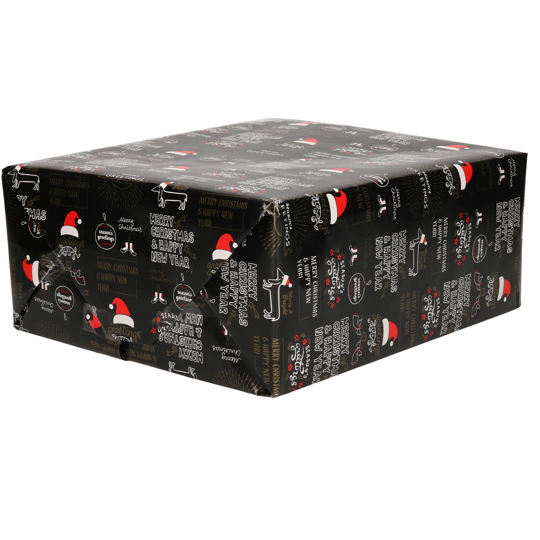 1x Rollen inpakpapier/cadeaupapier Kerst print zwart 2,5 x 0,7 meter 70 grams luxe kwaliteit