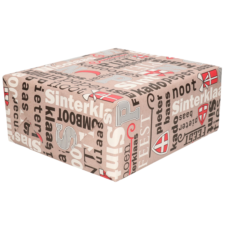 1x Rollen inpakpapier/cadeaupapier Sinterklaas print taupe/rood 2,5 x 0,7 meter 70 grams luxe kwalit