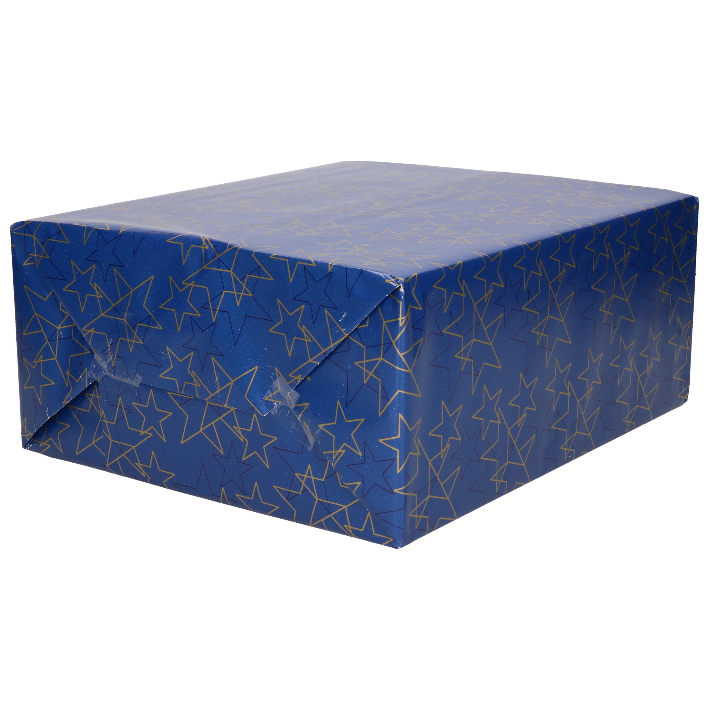 1x Rollen Kerst cadeaupapier blauw/goud gouden sterren 70 x 200 cm