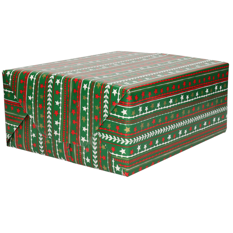 1x Rollen Kerst cadeaupapier donker groen / gekleurde sterren 70 x 200 cm