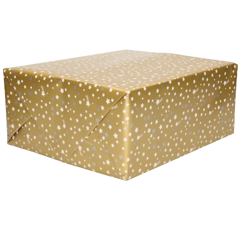 1x Rollen Kerst cadeaupapier goud met wit / zilveren sterren 70 x 200 cm