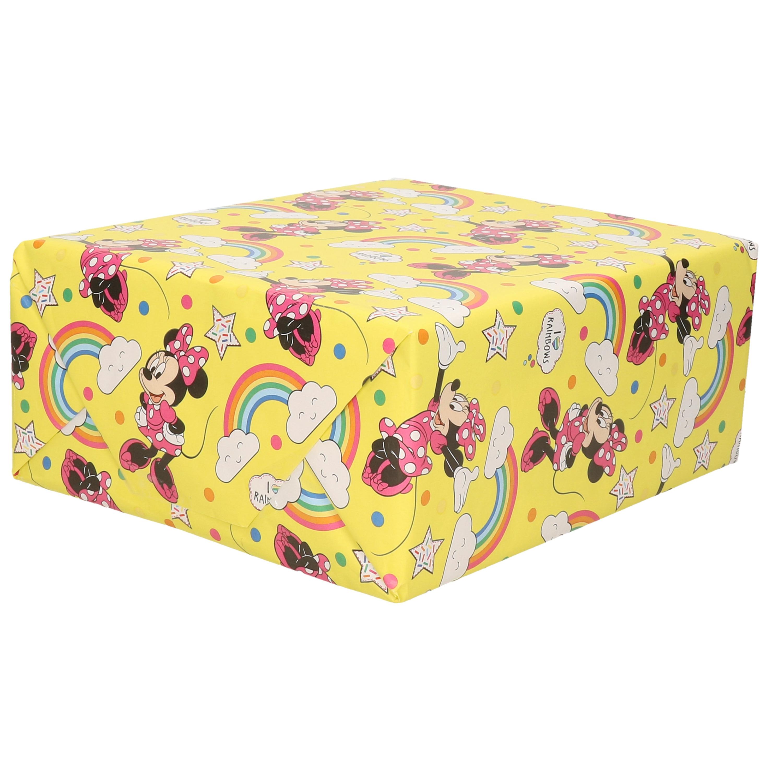 1x Rollen verjaardag kadopapier Disney Minnie Mouse met regenbogen geel 200 x 70 cm
