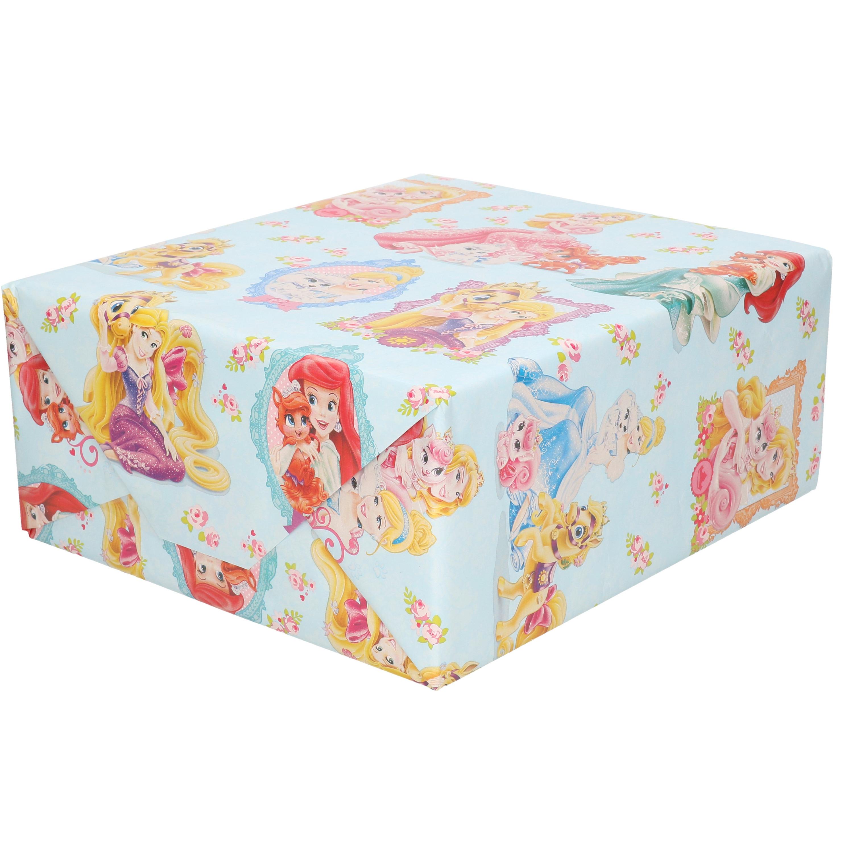 1x Rollen verjaardag kadopapier Disney Princess blauw 200 x 70 cm
