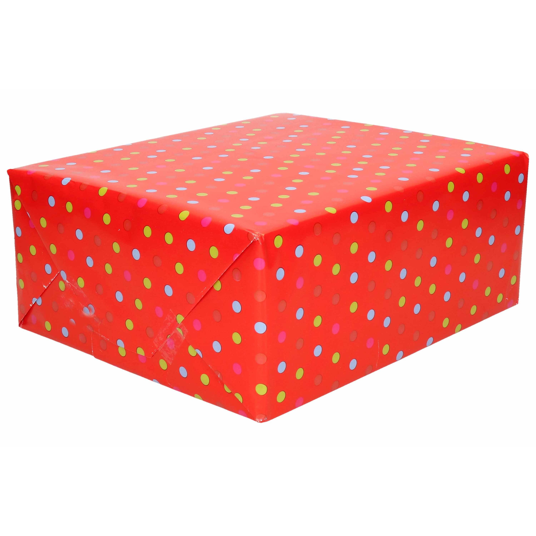 1x Rollen verjaardag kadopapier rood 200 x 70 cm - cadeaupapier