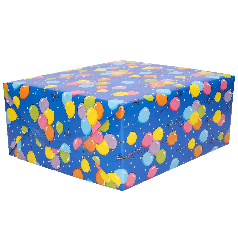 1x Rollen Verjaardagscadeau inpakpapier blauw met gekleurde ballonnen print 70 x 200 cm