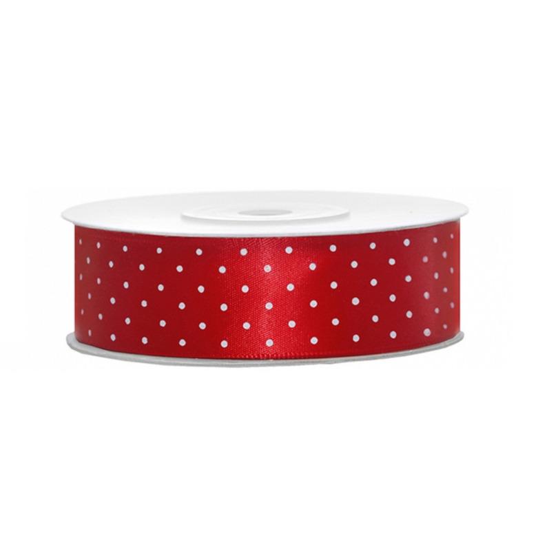 1x Rood satijnlint met stippen rol 2,5 cm x 25 meter cadeaulint verpakkingsmateriaal