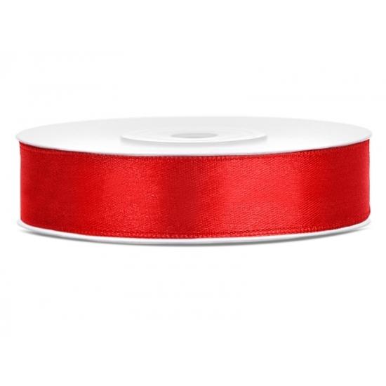 1x Rood satijnlint rol 1,2 cm x 25 meter cadeaulint verpakkingsmateriaal