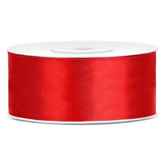 1x Rood satijnlint rol 2,5 cm x 25 meter cadeaulint verpakkingsmateriaal
