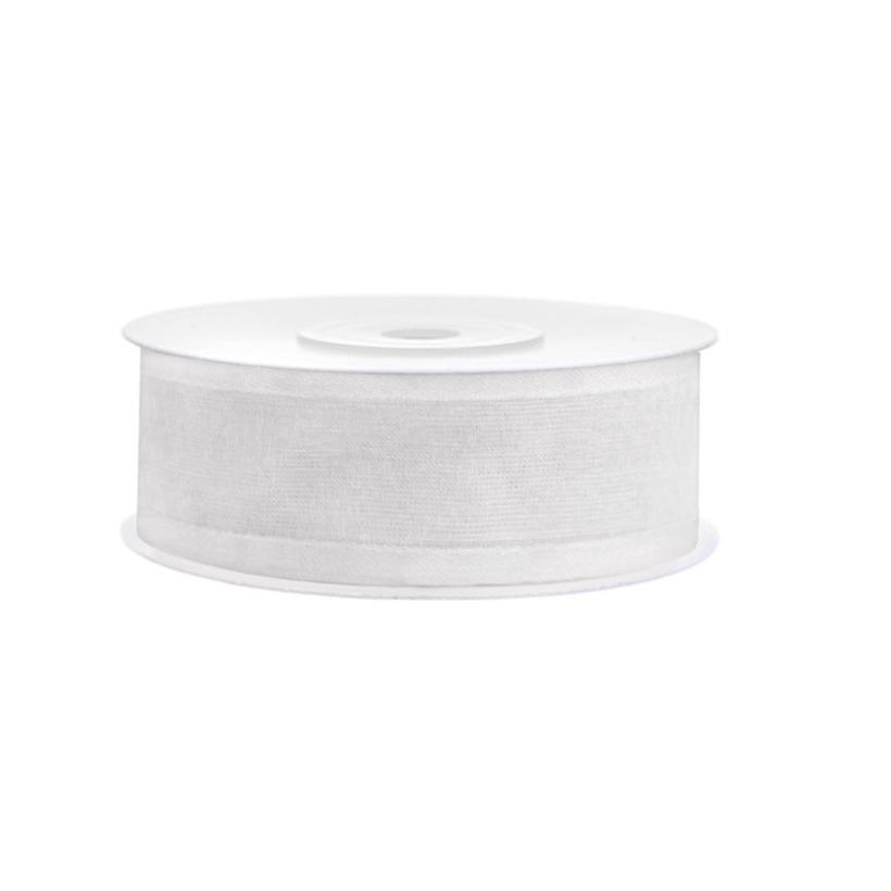 1x Witte chiffonlint rol 2,5 cm x 25 meter cadeaulint verpakkingsmateriaal
