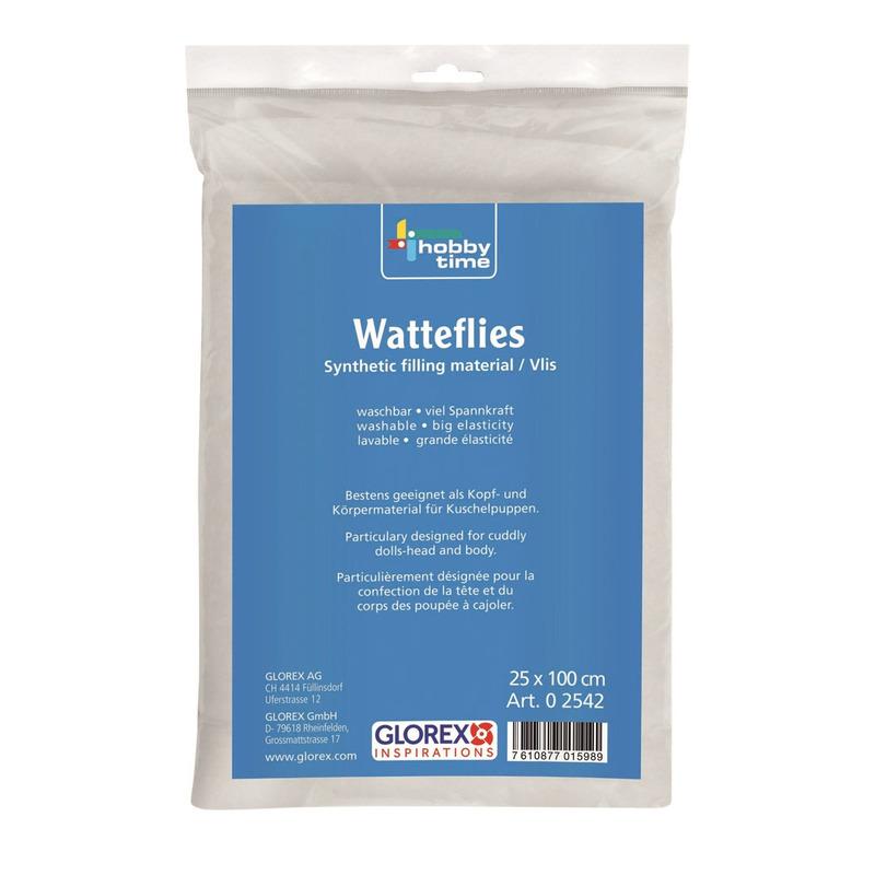 1x zakje Wattenvlies 100 grams vulmateriaal kleding/tassen/poppen 25 x 100 cm