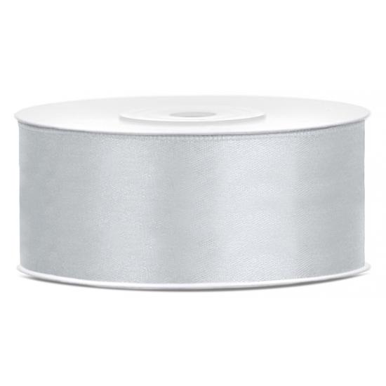 1x Zilver satijnlint rol 2,5 cm x 25 meter cadeaulint verpakkingsmateriaal