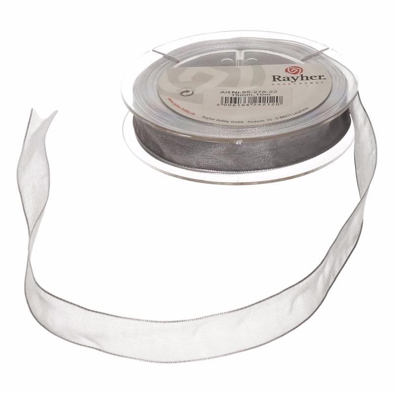 1x Zilveren organzalint rollen 1,5 cm x 10 meter cadeaulint/kadolint verpakkingsmateriaal