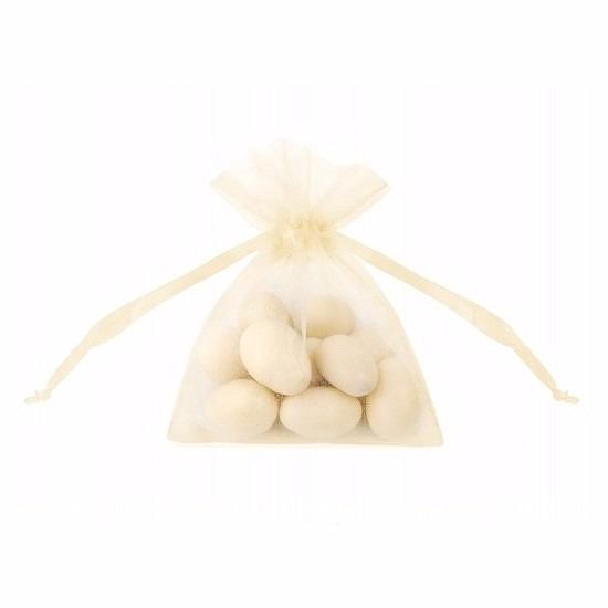 20x stuks kleine creme witte zakjes van organza stof 10 cm