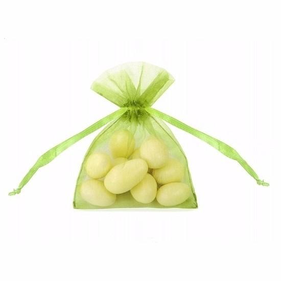 20x stuks kleine groene zakjes van organza stof 10 cm