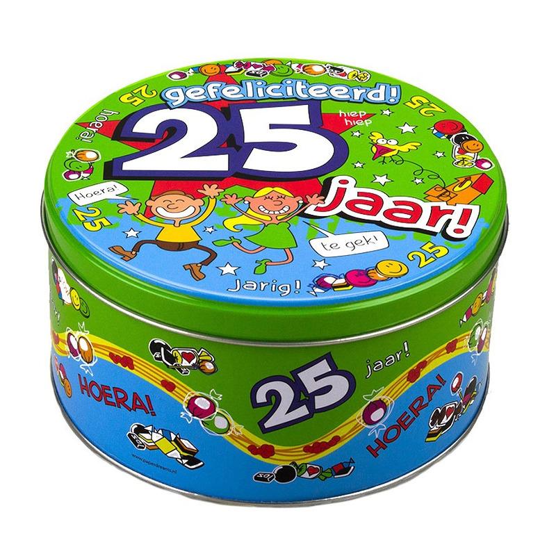25 jaar snoeptrommel/koektrommel verjaardagscadeau 14 x 7,5 cm
