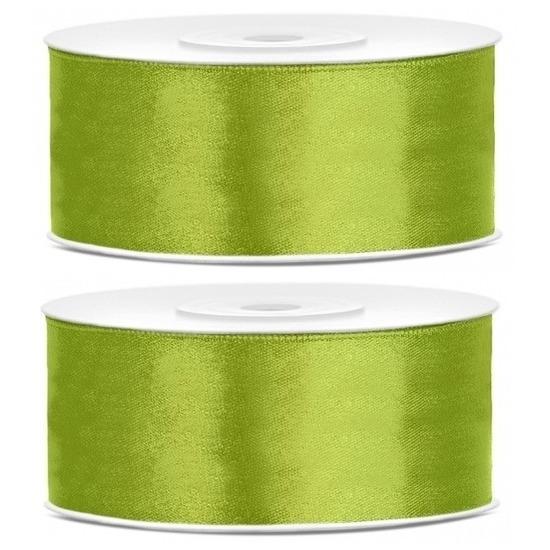 2x Appel groene satijnlinten op rol 2,5 cm x 25 meter cadeaulint verpakkingsmateriaal