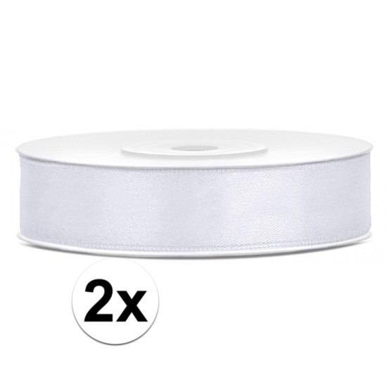 2x Cadeaulint wit rollen van 12 mm x 25 meter