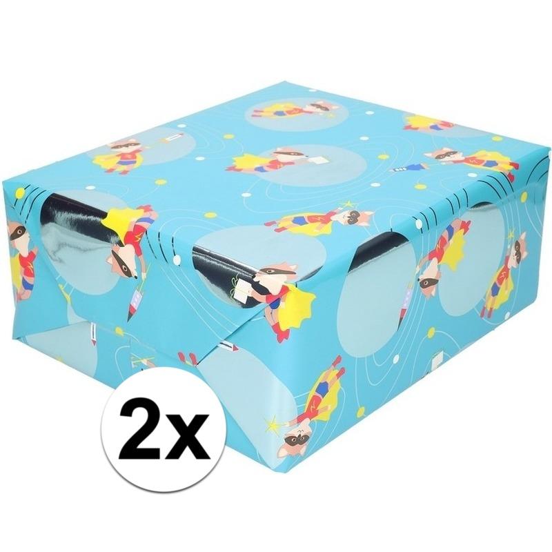 2x Cadeaupapier blauw met vos met masker 200 cm