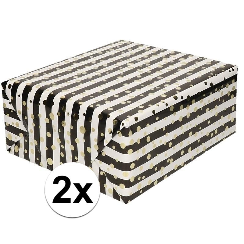 2x Cadeaupapier gemetaliseerd wit en zwart gestreept met gouden stippen, 150 cm per rol