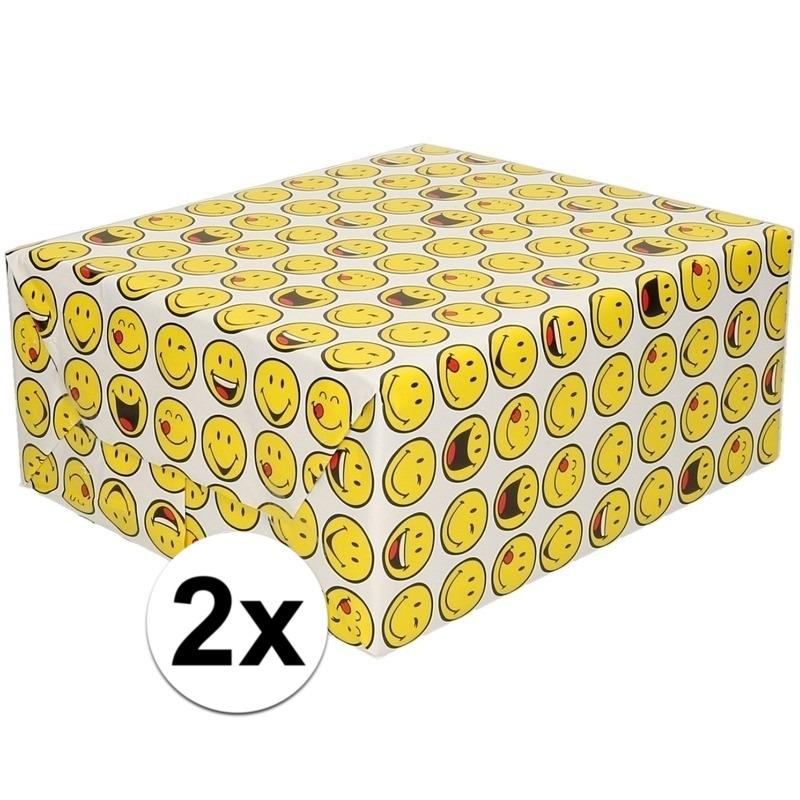 2x Cadeaupapier wit met funny faces 200 cm per rol