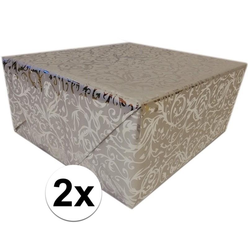 2x Cadeaupapier zilver metallic met klassieke print 150 cm per rol