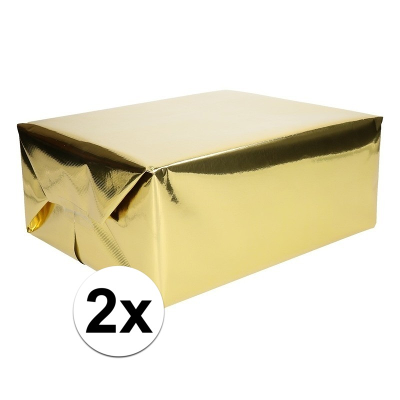 2x Folie kadopapier goud metallic 4 meter