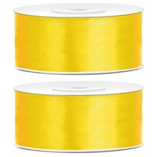 2x Gele satijnlinten op rol 2,5 cm x 25 meter cadeaulint verpakkingsmateriaal