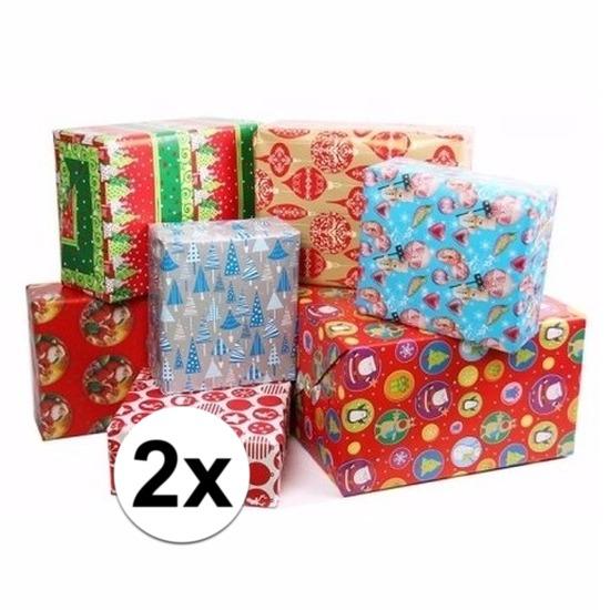 2x Kerstmis kadopapier/inpakpapier 200 x 70 cm