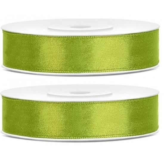 2x Lime groene satijnlinten op rol 1,2 cm x 25 meter cadeaulint verpakkingsmateriaal