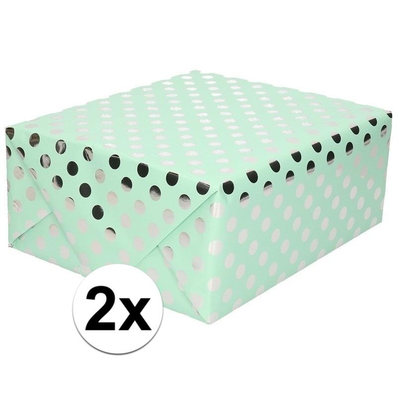 2x Mint groene folie geschenkpapier zilveren stip 200 x 70 cm