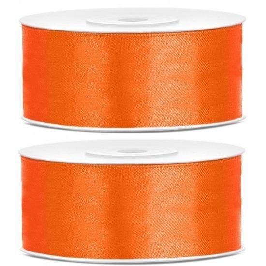 2x Oranje satijnlinten op rol 2,5 cm x 25 meter cadeaulint verpakkingsmateriaal