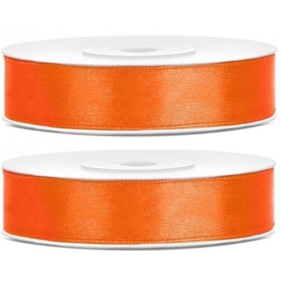 2x Oranje satijnlinten rol 1,2 cm x 25 meter cadeaulinten verpakkingsmateriaal