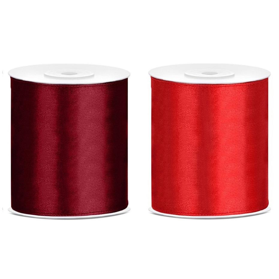 2x rollen hobby decoratie satijnlint bordeaux rood-rood 10 cm x 25 meter