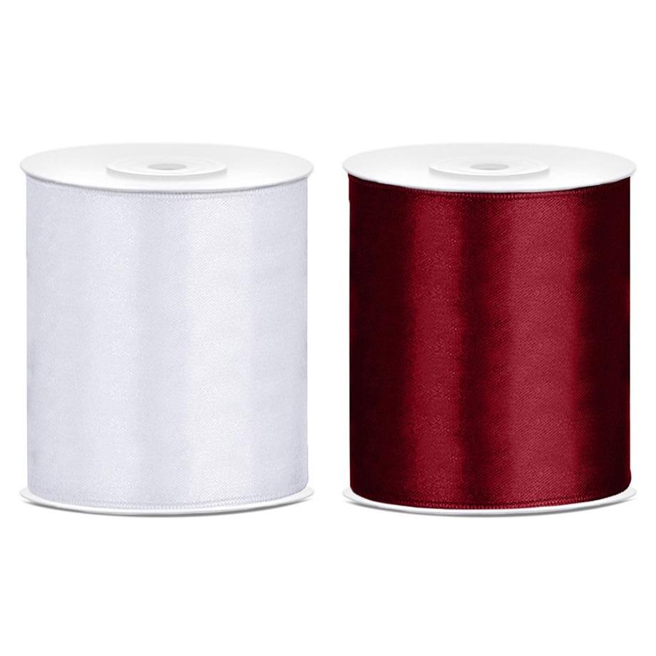 2x rollen hobby decoratie satijnlint bordeaux rood-wit 10 cm x 25 meter