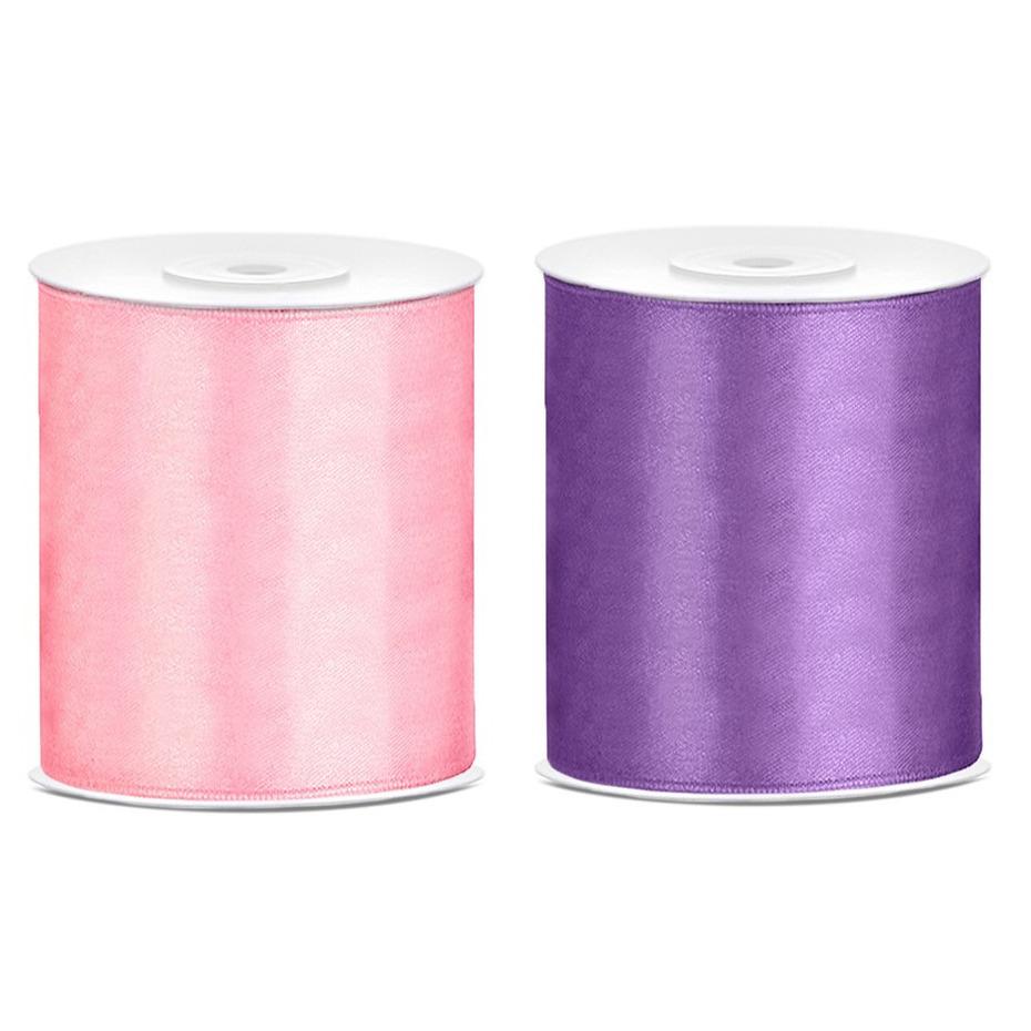 2x rollen hobby decoratie satijnlint paars-roze 10 cm x 25 meter