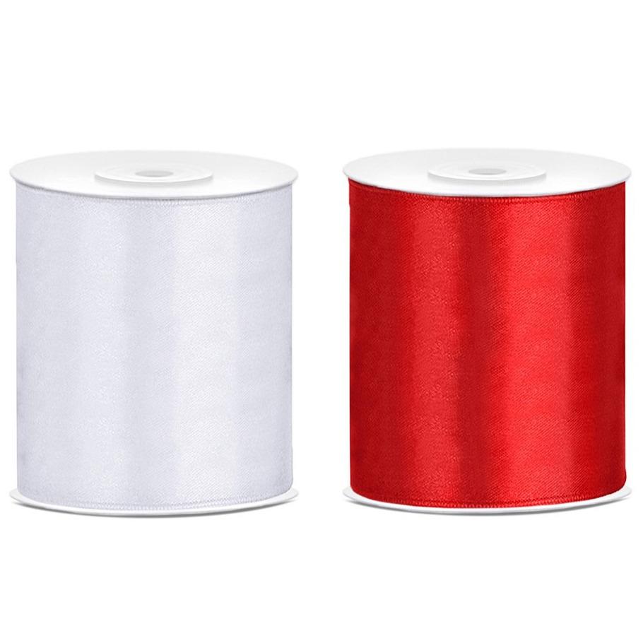 2x rollen hobby decoratie satijnlint rood-wit 10 cm x 25 meter