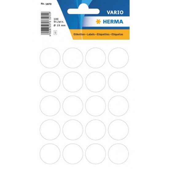 2x velletjes stippen stickers wit 19 mm 2x 100 stuks