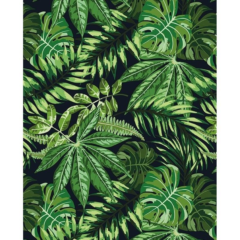 2x Verjaardagscadeau inpakpapier zwart met groene bladeren 70 x 200 cm