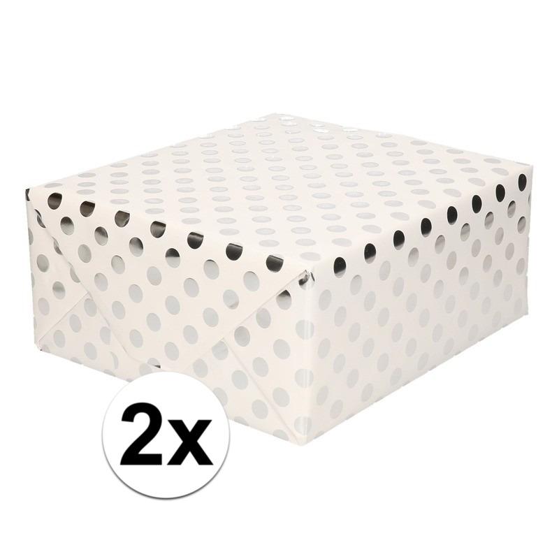 2x Wit folie geschenkpapier zilveren stip 200 x 70 cm