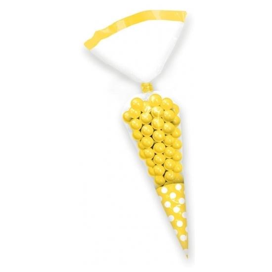 30x stuks gele snoepzakjes van 27 cm